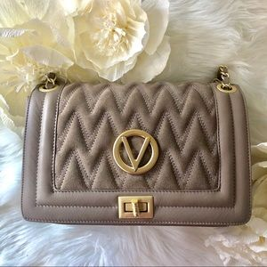 VALENTINO Auth Grey & Gold Quilted Leather Bag